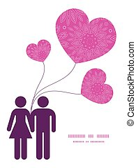 Vector pink abstract flowers texture couple in love...