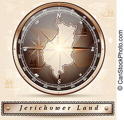 Map of Jerichower-Land with borders in bronze
