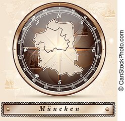 Map of Muenchen with borders in bronze