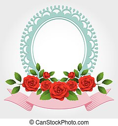 Roses Round-Shaped Frame, Border - Love, Valentines, Marry...