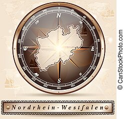 Map of North Rhine-Westphalia with borders in bronze