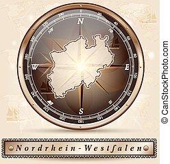 mapa, Od, Północ, Rhine-Westphalia,