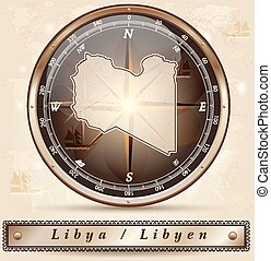 Map of Libya with borders in bronze
