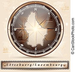 Map of Luxembourg with borders in bronze