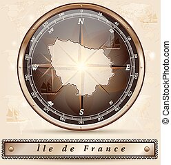 Map of Ile-de-France with borders in bronze