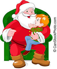 Santa and Boy - A vector illustration of a small boy sitting...