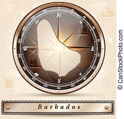 Map of Barbados with borders in bronze