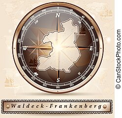 Map of Waldeck-Frankenberg with borders in bronze