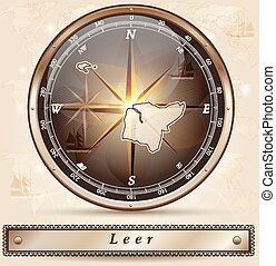Map of Leer with borders in bronze