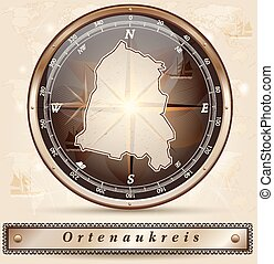 Map of Ortenaukreis with borders in bronze