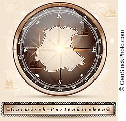 Map of Garmisch-Partenkirchen with borders in bronze