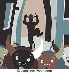 Bull running - Editable vector cartoon illustration of bulls...
