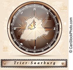 Map of Trier-Saarburg with borders in bronze
