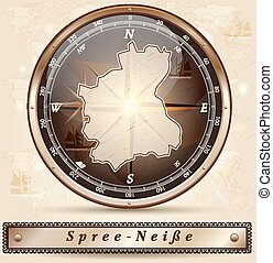Map of Spree-Neisse with borders in bronze