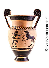 Ancient vase over white