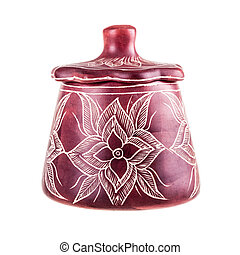 African sugar bowl - decorated african sugar bowl isolated...