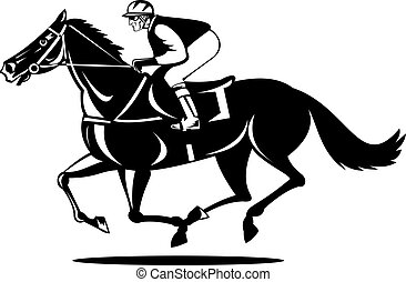 Horse and Rider - Illustration of a horse and rider racing...
