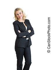 Smiling business woman Isolated over white background -...