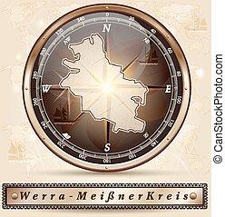 Map of Werra-Meissner-Kreis with borders in bronze