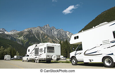 Motor homes in canadian rockies. British Columbia. Canada....