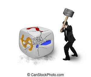 businessman holding sledgehammer hitting large dice with dollar