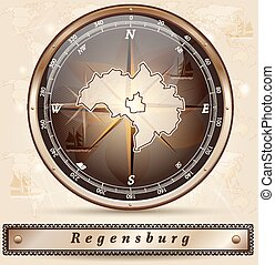 Map of regensburg with borders in bronze