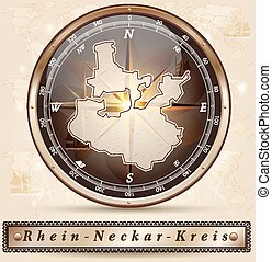 Map of Rhein-Neckar-Kreis with borders in bronze