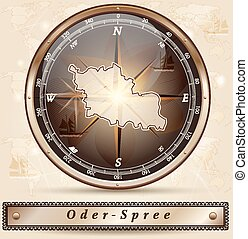 Map of Oder-Spree with borders in bronze