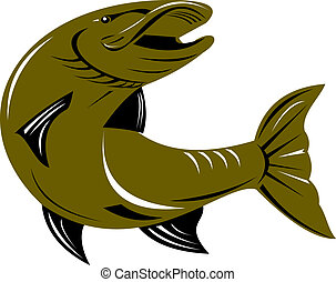 Muskie fish - illustration of a muskellunge fish