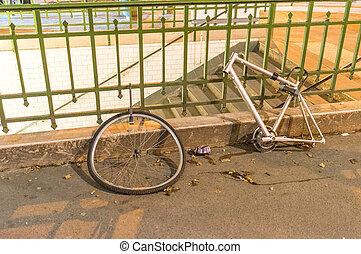 abandonnés, naufrage, de, Vélo, dans, ville, Rues,