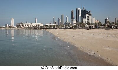 Kuwait City skyline as seen from the Shuwaikh Beach