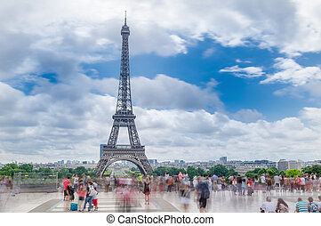 Paris, France Amazing Eiffel Tower view from Trocadero, long...