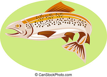 Brown trout jumping - illustration of a Brown or spotted...