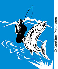 Flying fisherman catching a trout - illustration of a Flying...