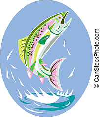 Rainbow trout jumping - illustration of a rainbow trout...