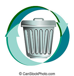 Rubbish recycling icon - illustration on rubbish or waste,...