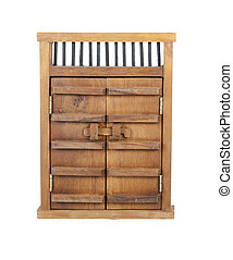 Wooden Castle Door with Wooden Bar Lock - Wooden castle...