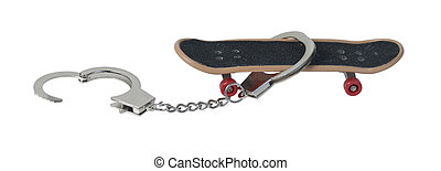 Skateboard with Handcuffs