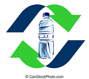 Plastic bottle recycling icon