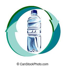 eau, bouteille, flèches