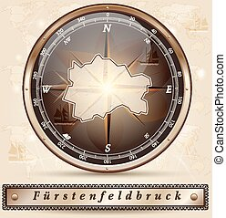 Map of Fuerstenfeldbruck with borders in bronze