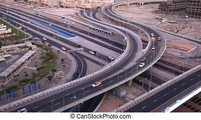 highway junction in Dubai - High angle view of a highway...