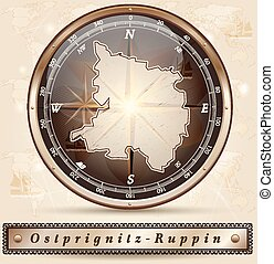 Map of Ostprignitz-Ruppin with borders in bronze