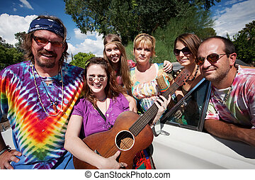 Groovy group with female Singer - Group of hippies with...