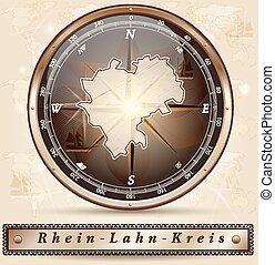 Map of Rhein-Lahn with borders in bronze