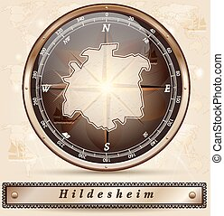 Map of Hildesheim with borders in bronze