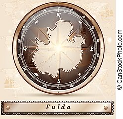 Map of fulda with borders in bronze