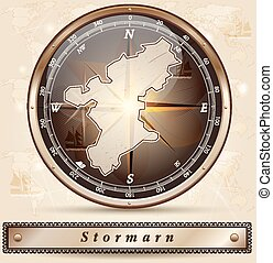Map of Stormarn with borders in bronze