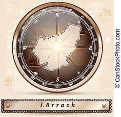 Map of Loerrach with borders in bronze