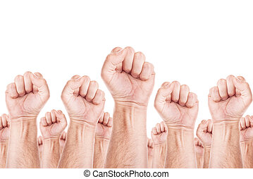 Labour movement, workers union strike concept with male...